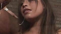 Asian babe gives blowjob and fucks cock