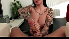 Busty tattooed slut rides her lovers hung cock in missionary position