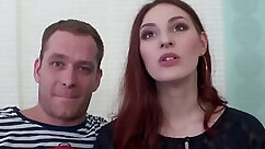 Amazing redhead wife sucking her husbands rod