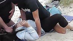 Chubby Beach Slut Is Having An Orgy with Butt-Hiding Man