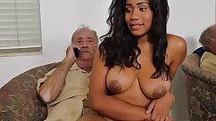 Big tits pregnant ebony Sarah got fucked by grandpa and banged by dick