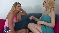 Blonde lesbian chicks rubbing each others snatch