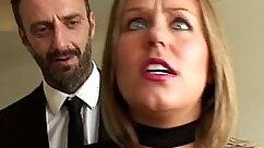 Brunette in leather stocking slut teasing her lover