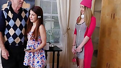 Anna and Alia share cock in a threeway
