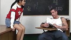 Asian schoolgirl getting poked in her restroom beside her teacher