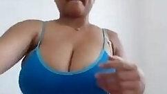 Blonde aunty sucks on webcam