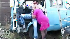 Big Daddy Wanking His Fat Granny Outdoors