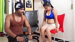 Fit bigelow instructor very rigid in gym loon nyncies plugged into a bed to arous
