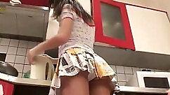 cute blonde teen flashing panties